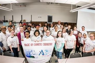 Group photo of students and teachers who attended the Magic of Cosmetic Science event
